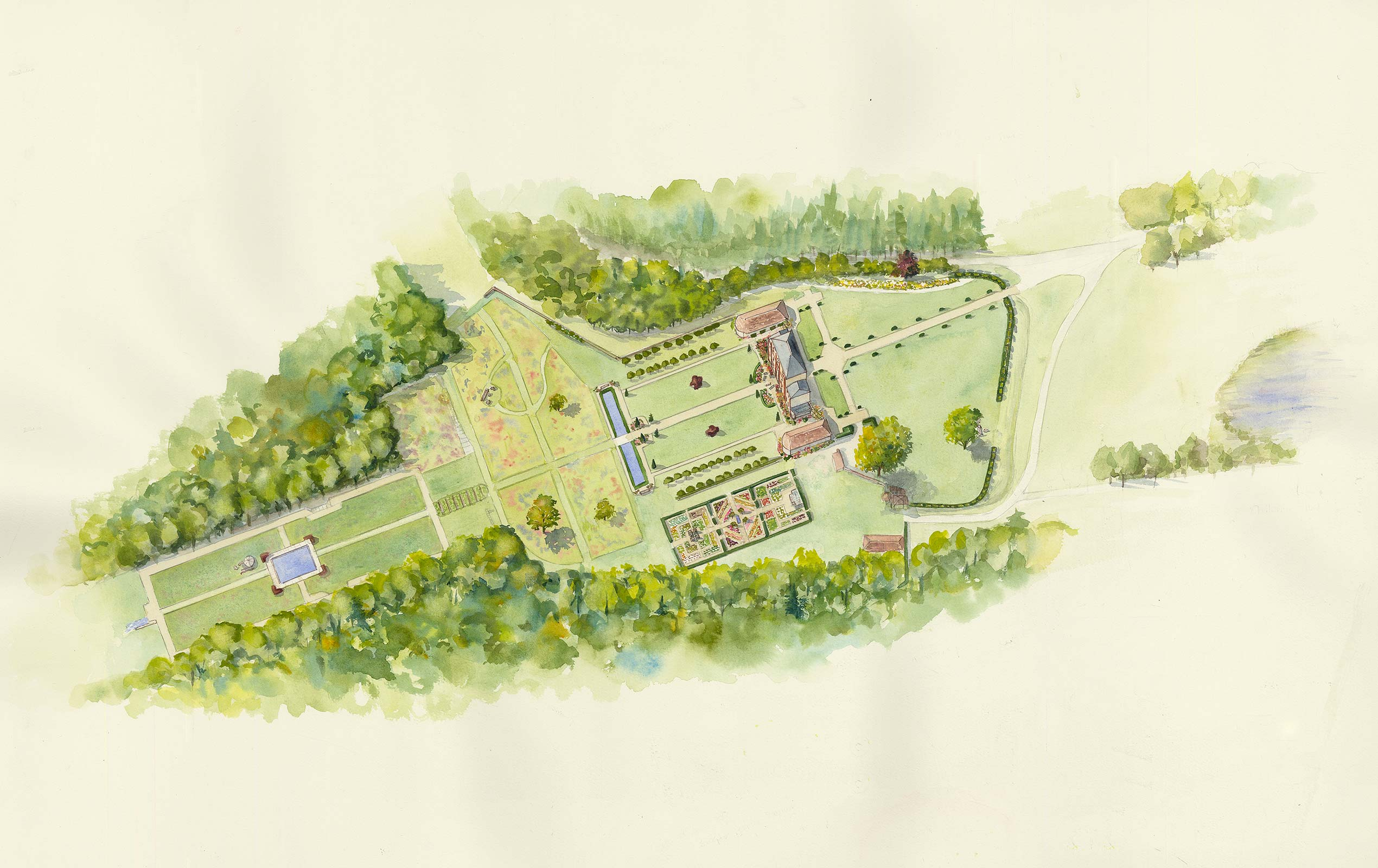Illustration of proposed historical garden restoration In Normandy, France