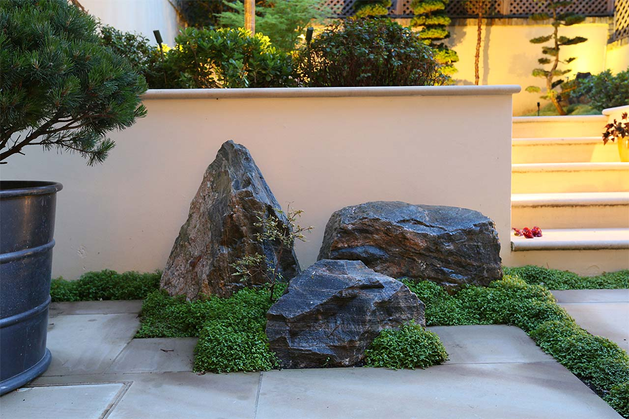 Carefully chosen rocks for the Japanese Garden