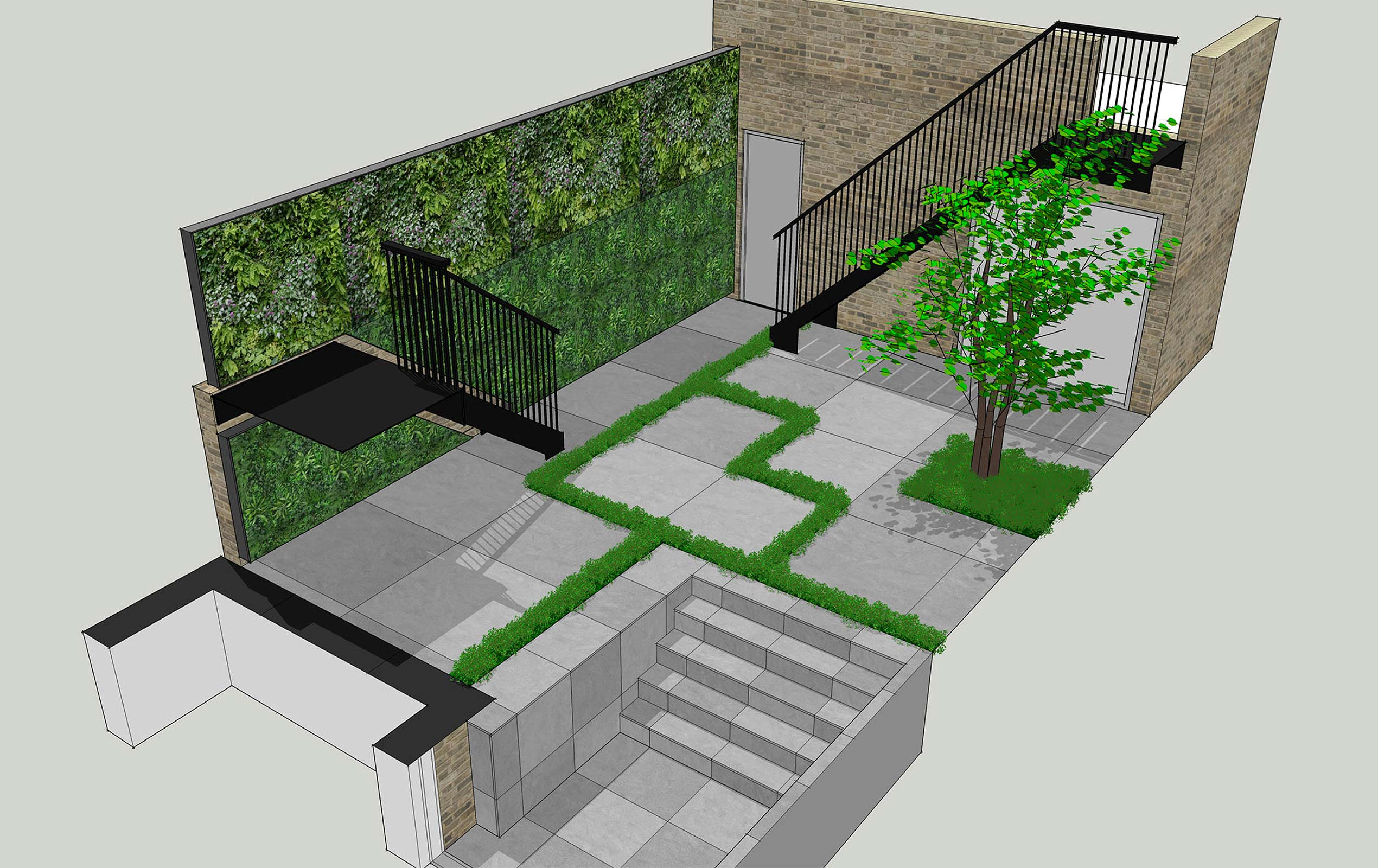 Knightsbridge garden above swimming pool work visual