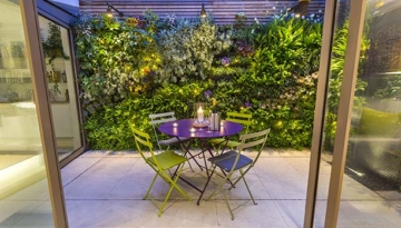 Kelso Place small patio with lush green walls