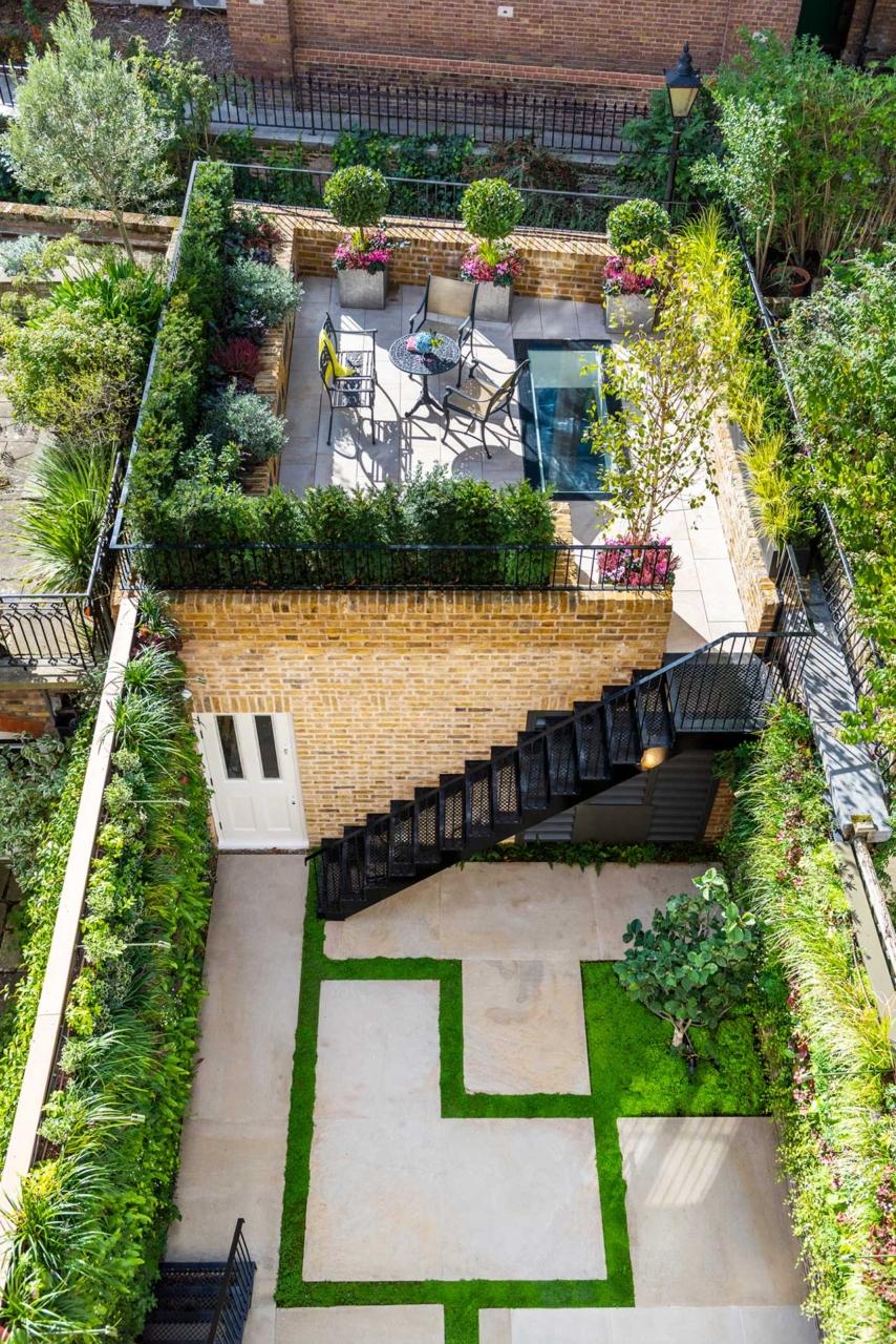 Knightsbridge minimalist garden viewed from above