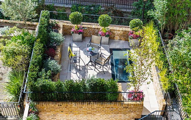 Knightsbridge minimalist garden above swimming pool by Maïtanne Hunt